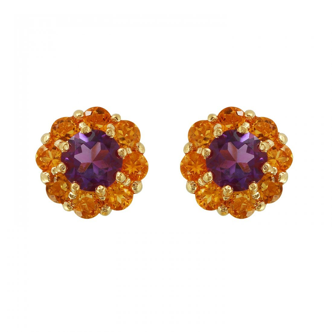 Ladies 2.94CTW Amethyst 14K Yellow Gold Earrings