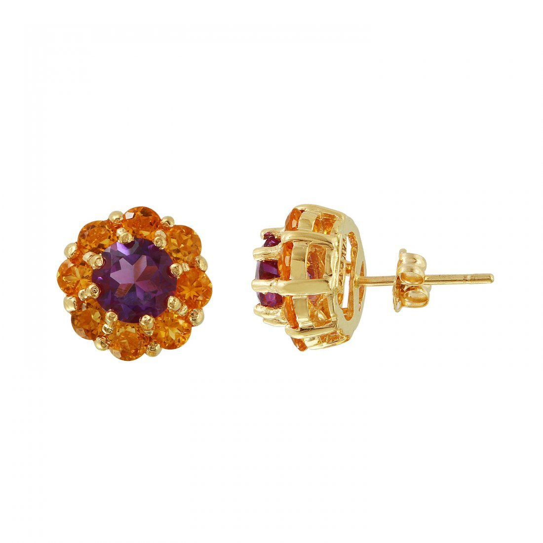 Ladies 2.94CTW Amethyst 14K Yellow Gold Earrings - 2