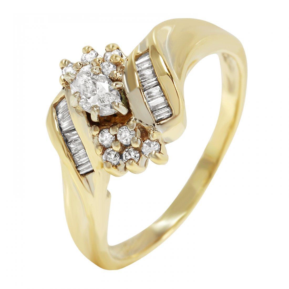 Ladies 0.58CTW Diamond 14K Yellow Gold Ring