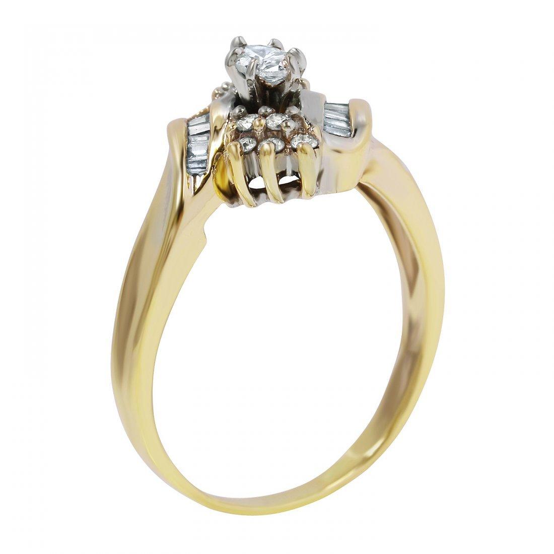 Ladies 0.58CTW Diamond 14K Yellow Gold Ring - 2