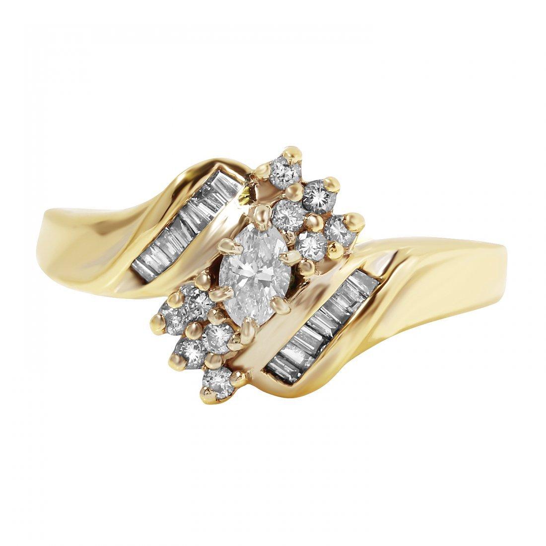 Ladies 0.58CTW Diamond 14K Yellow Gold Ring - 3