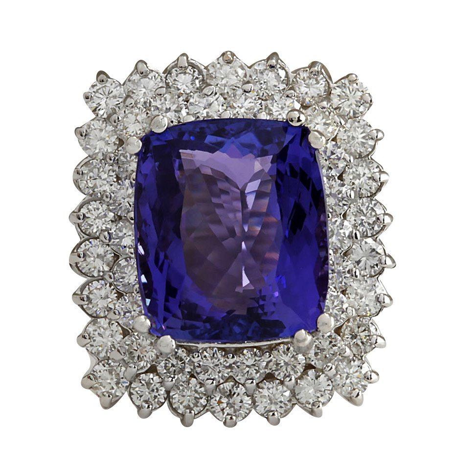 12.40CTW Natural Blue Tanzanite And Diamond Ring 14K