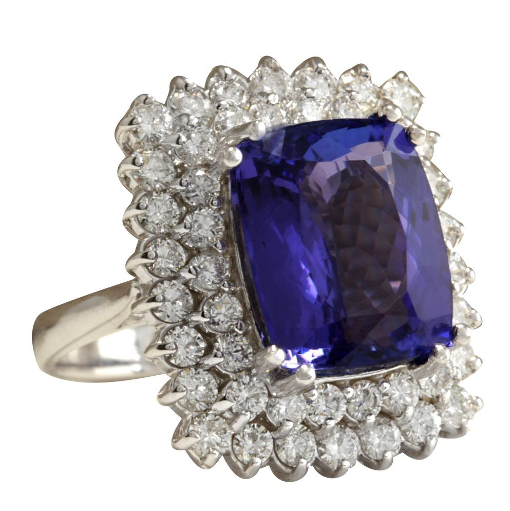 12.40CTW Natural Blue Tanzanite And Diamond Ring 14K - 2