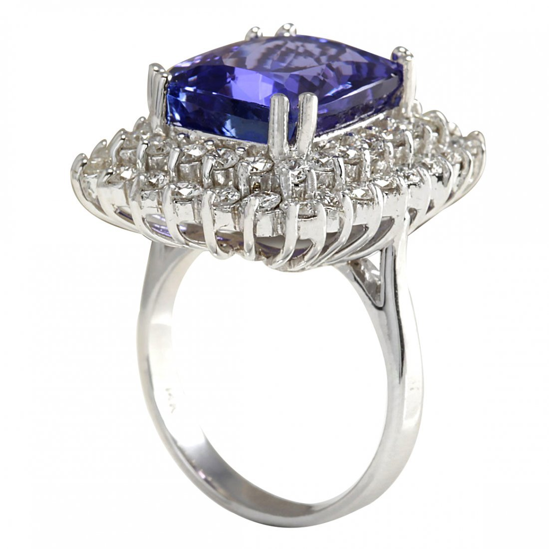 12.40CTW Natural Blue Tanzanite And Diamond Ring 14K - 3