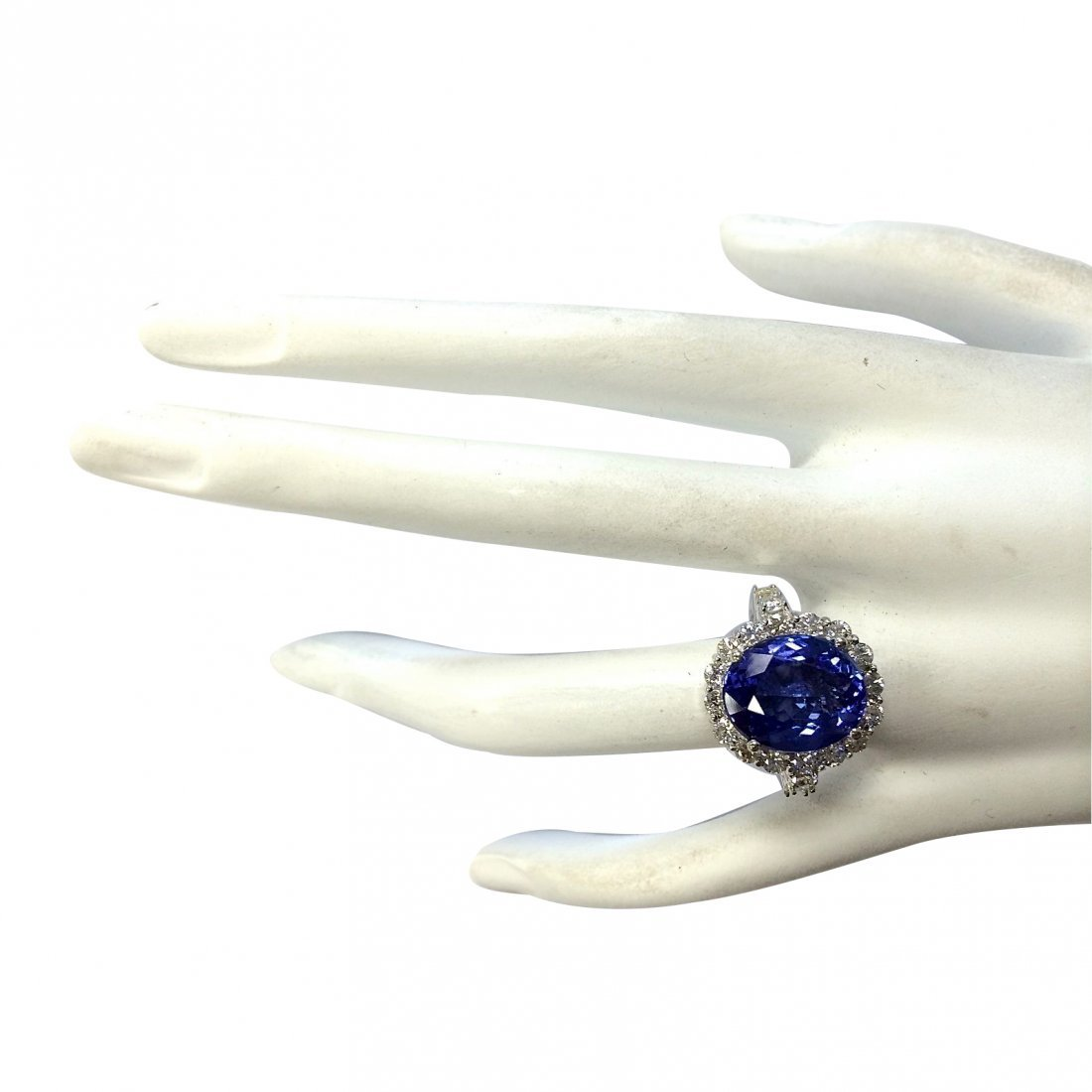 12.40CTW Natural Blue Tanzanite And Diamond Ring 14K - 4