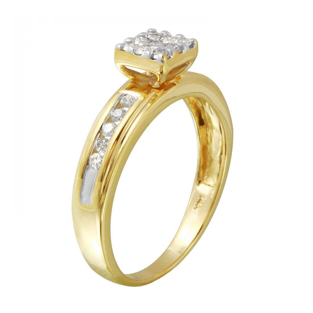 Ladies 0.32CTW Diamond 14K Yellow Gold Ring - 2