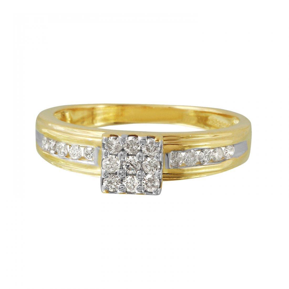 Ladies 0.32CTW Diamond 14K Yellow Gold Ring - 3