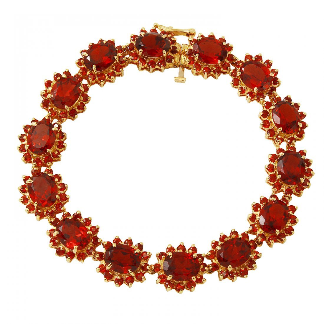 Ladies 37.3CTW Garnet 14K Yellow Gold Bracelet