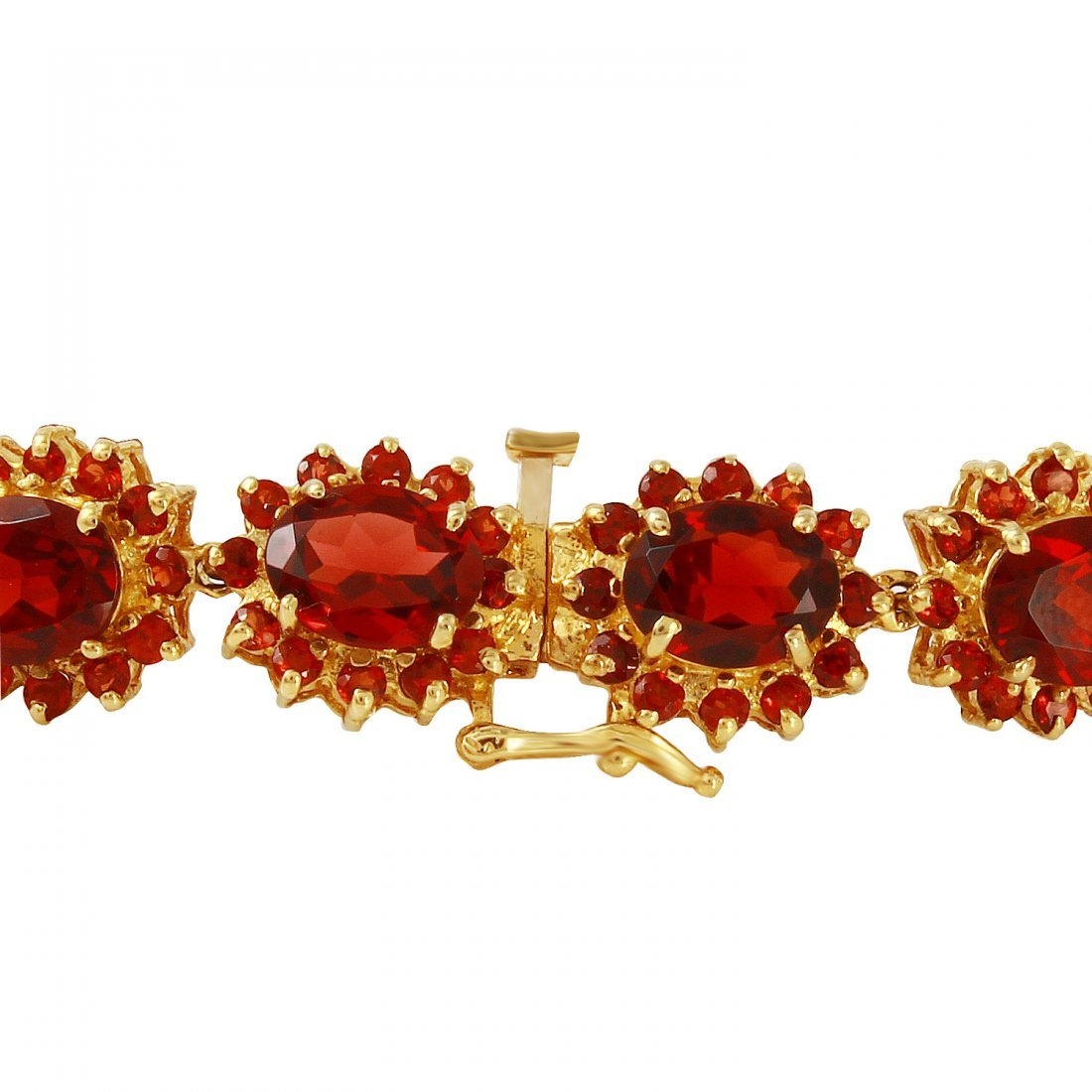 Ladies 37.3CTW Garnet 14K Yellow Gold Bracelet - 2