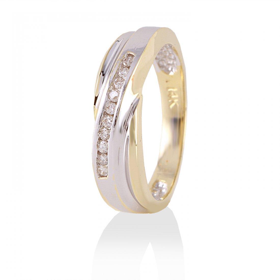 Ladies 0.1CTW Diamond 14K Yellow Gold Ring