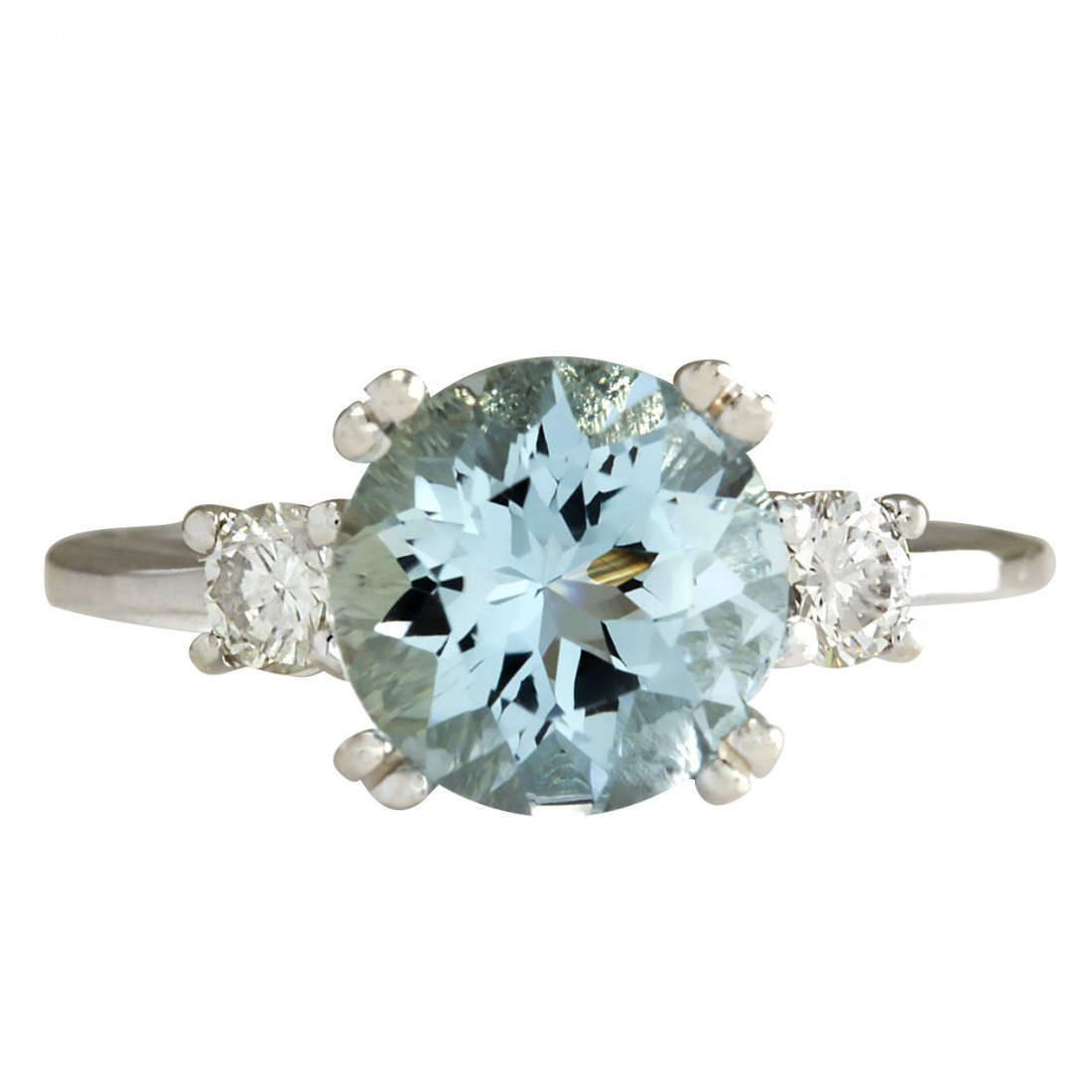 2.33CTW Natural Aquamarine And Diamond Ring In 14K