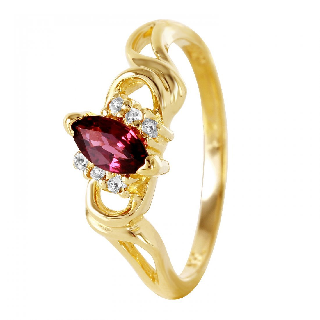 Ladies 0.38CTW Ruby And Diamond 14K Yellow Gold Ring