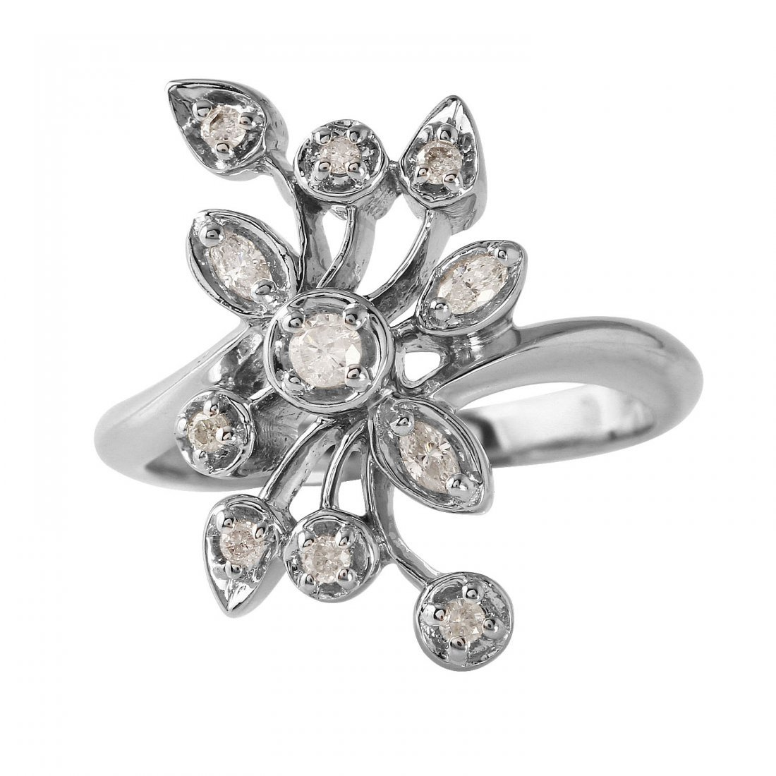 Ladies 0.26CTW Diamond 10k White Gold Ring - 3