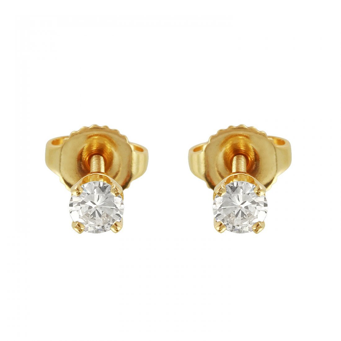 Ladies 0.4CTW Diamond 14K Yellow Gold Earrings