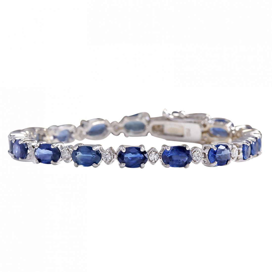 11.95CTW Natural Sapphire And Diamond Bracelet In 14K