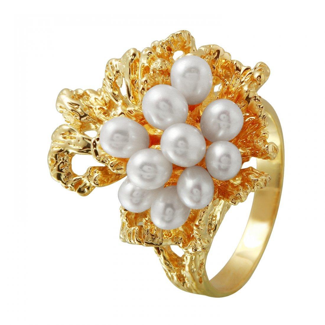 Ladies 3-4MM Freshwater Pearl 14K Yellow Gold Ring