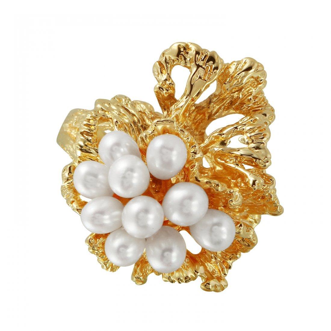Ladies 3-4MM Freshwater Pearl 14K Yellow Gold Ring - 3