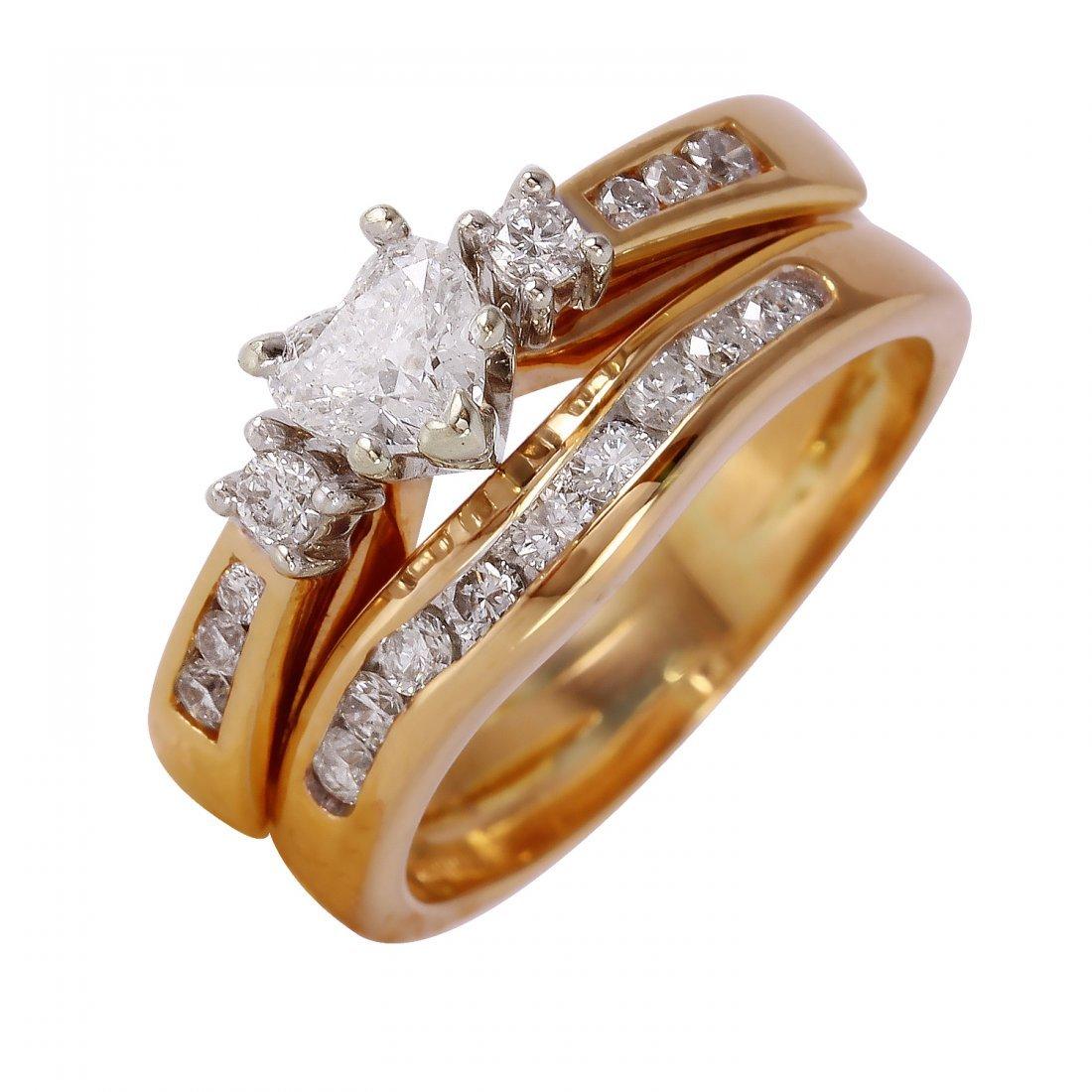 Ladies 1.01CTW Diamond 14K Two tone Gold Ring