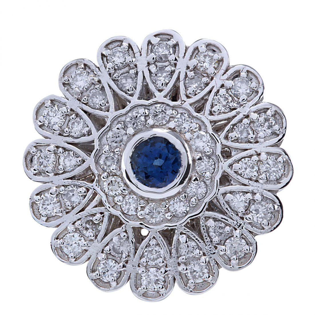 1.70Ct Natural Blue Sapphire And Diamond Ring In14K