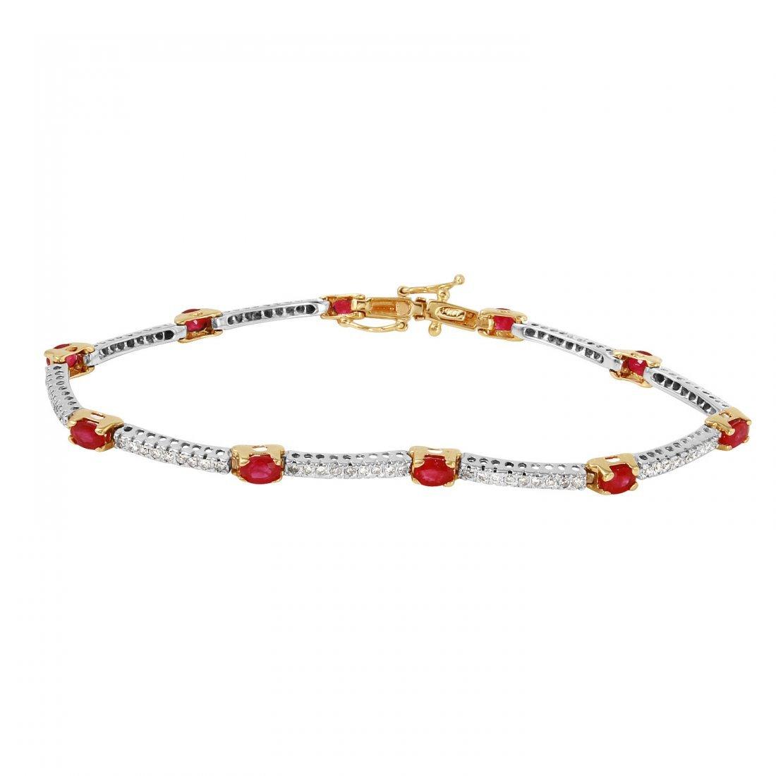 Ladies 2.5CTW Diamond And Ruby 14K Yellow Gold Bracelet