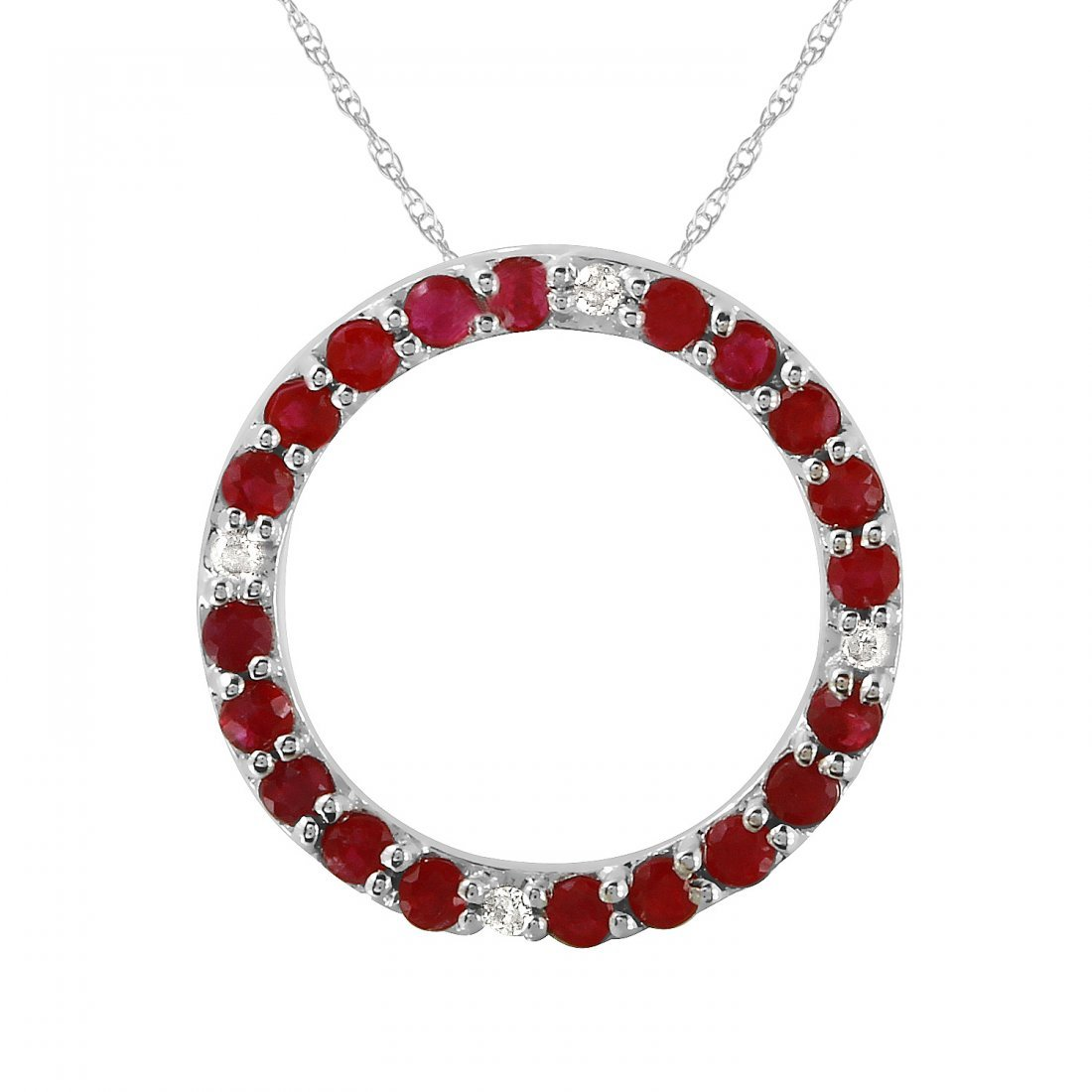 Ladies 0.63CTW Ruby And Diamond 10k White Gold Necklace