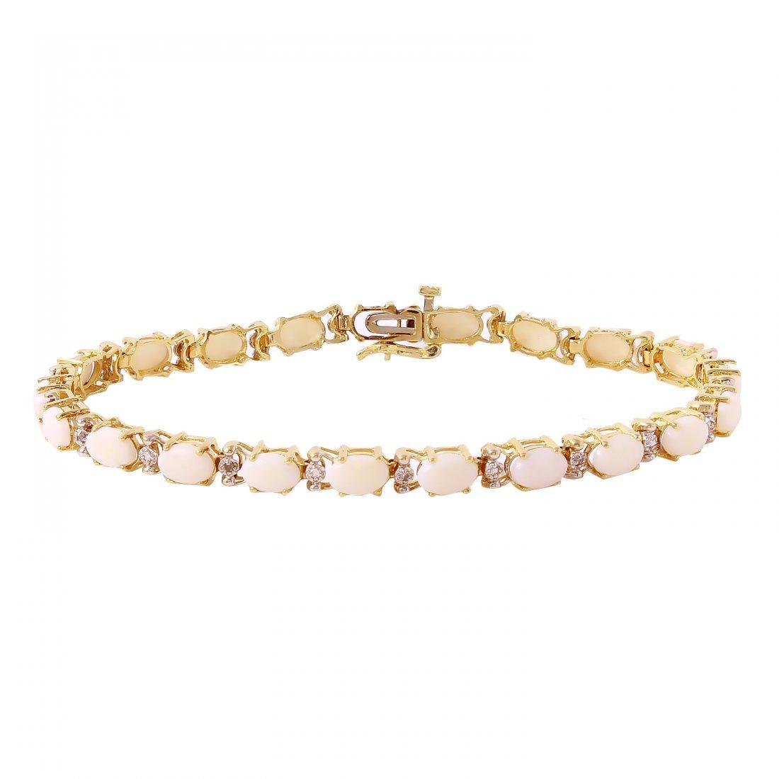 Ladies 5.51CTW Opal And Diamond 10K Yellow Gold
