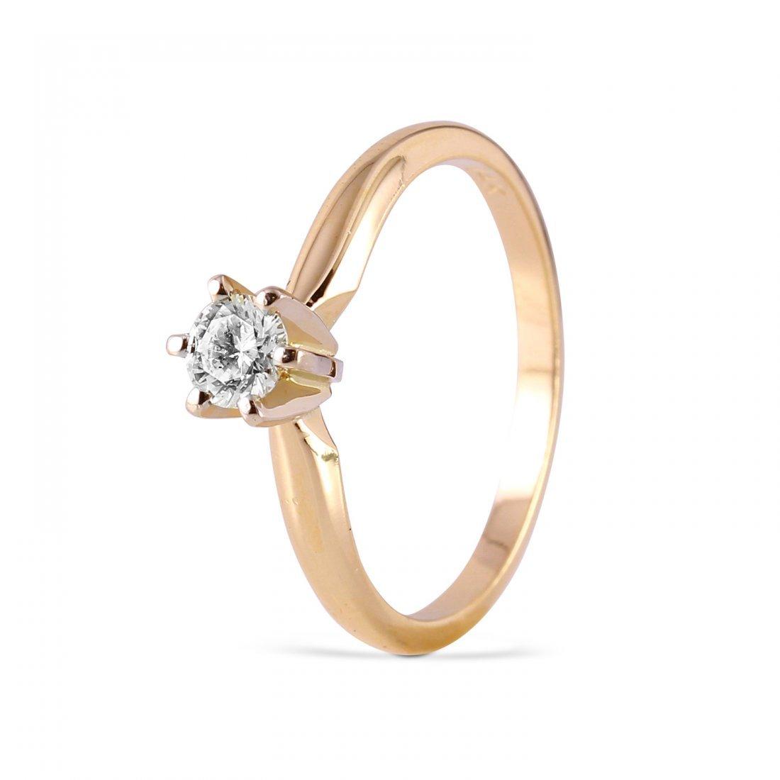 Ladies 0.25CTW Diamond 14K Yellow Gold Ring