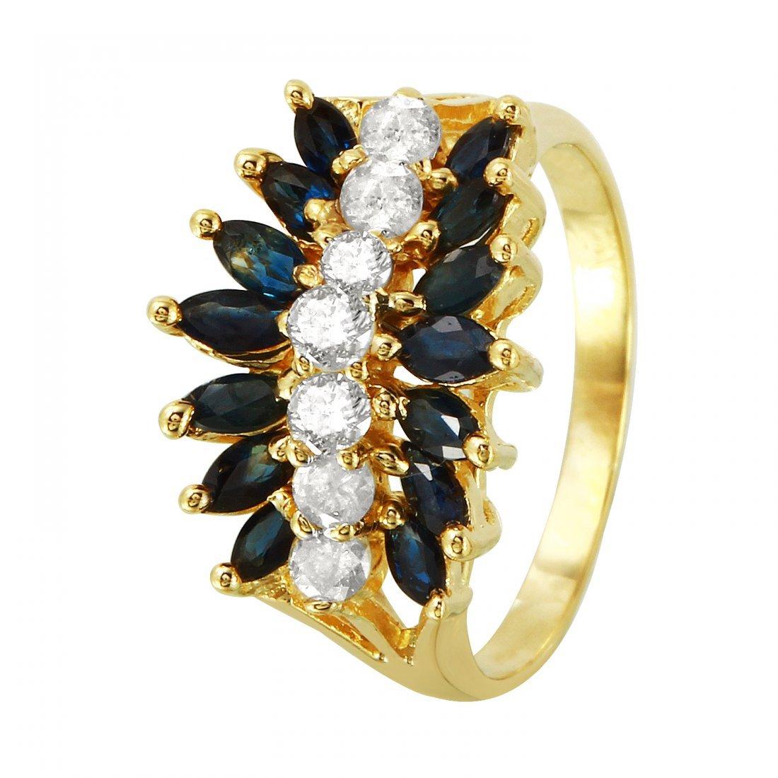 Ladies 2.18CTW Sapphire And Diamond 14K Yellow Gold