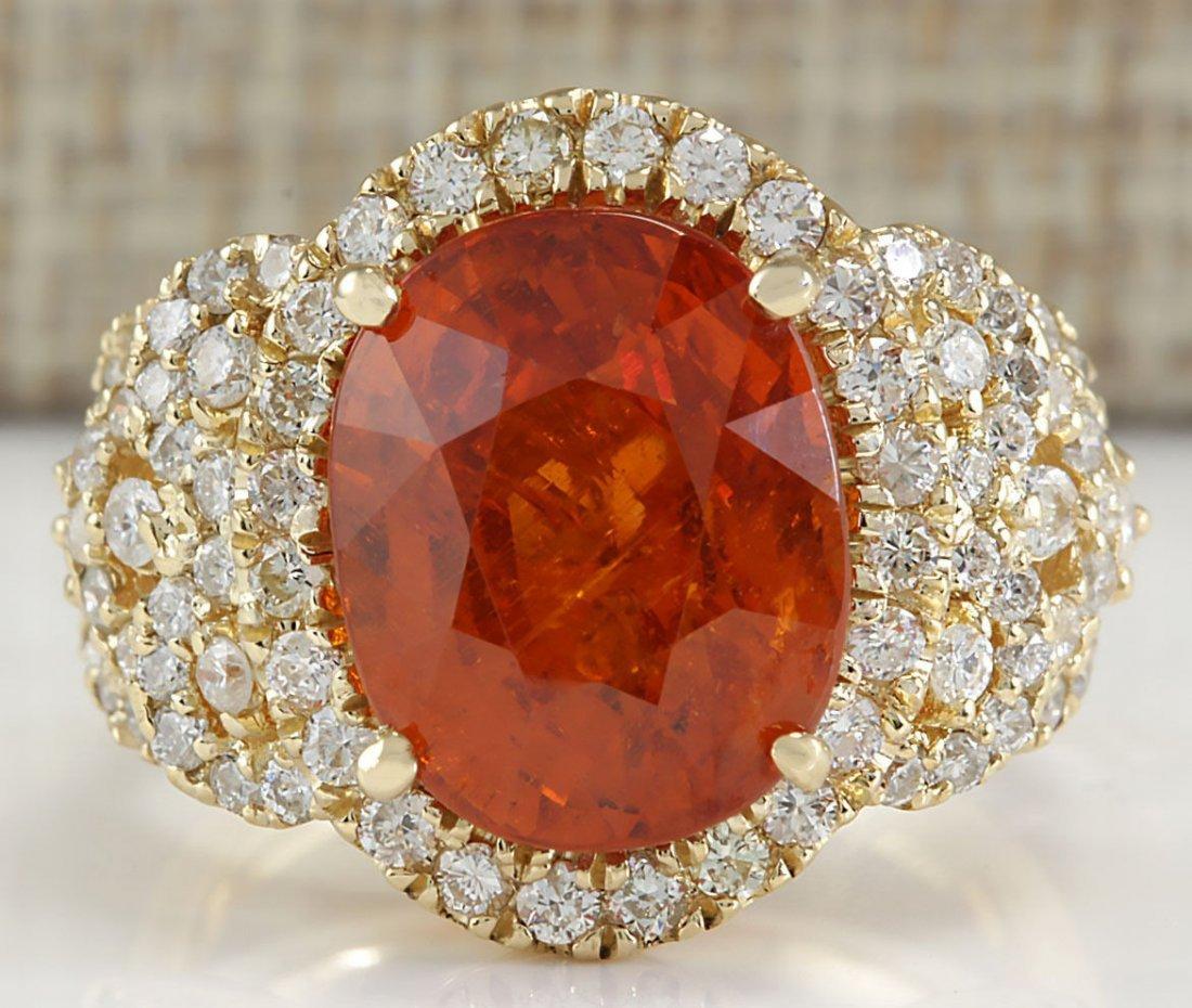 11.31Ct Natural Mandarin Garnet And Diamond Ring In14K
