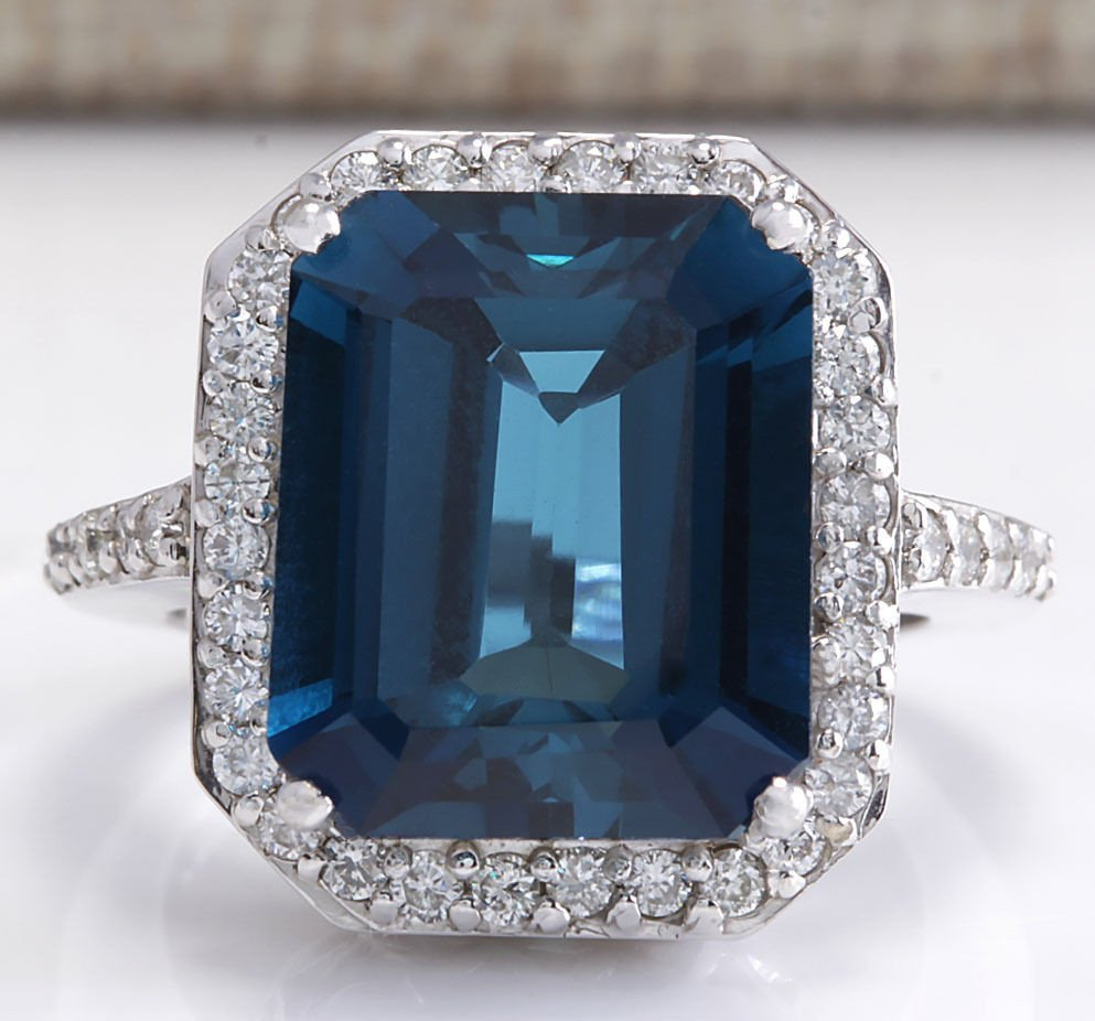 10.73Ct Natural London Blue Topaz And Diamond Ring In