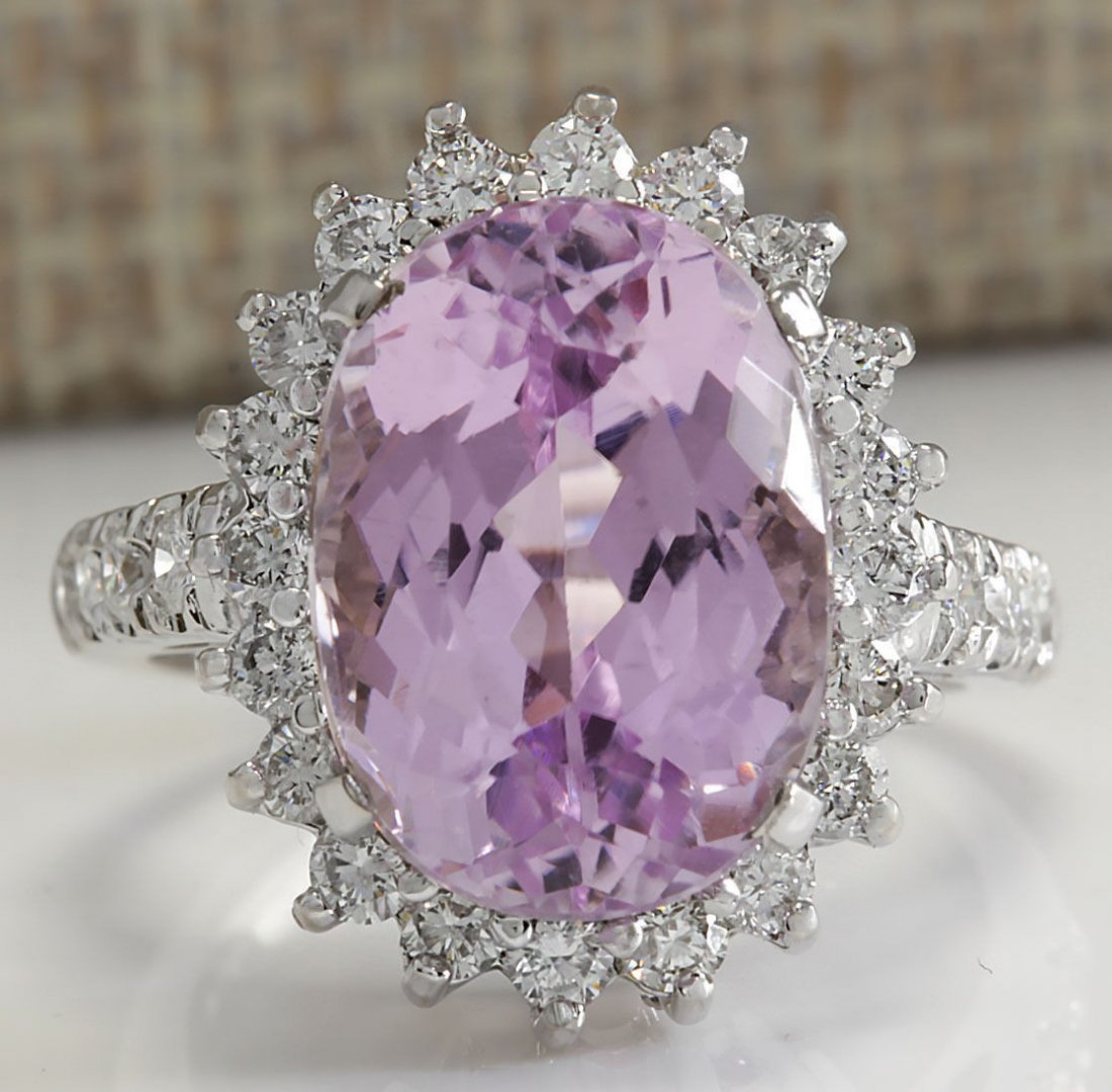 9.96CTW Natural Kunzite And Diamond Ring In 14K Solid