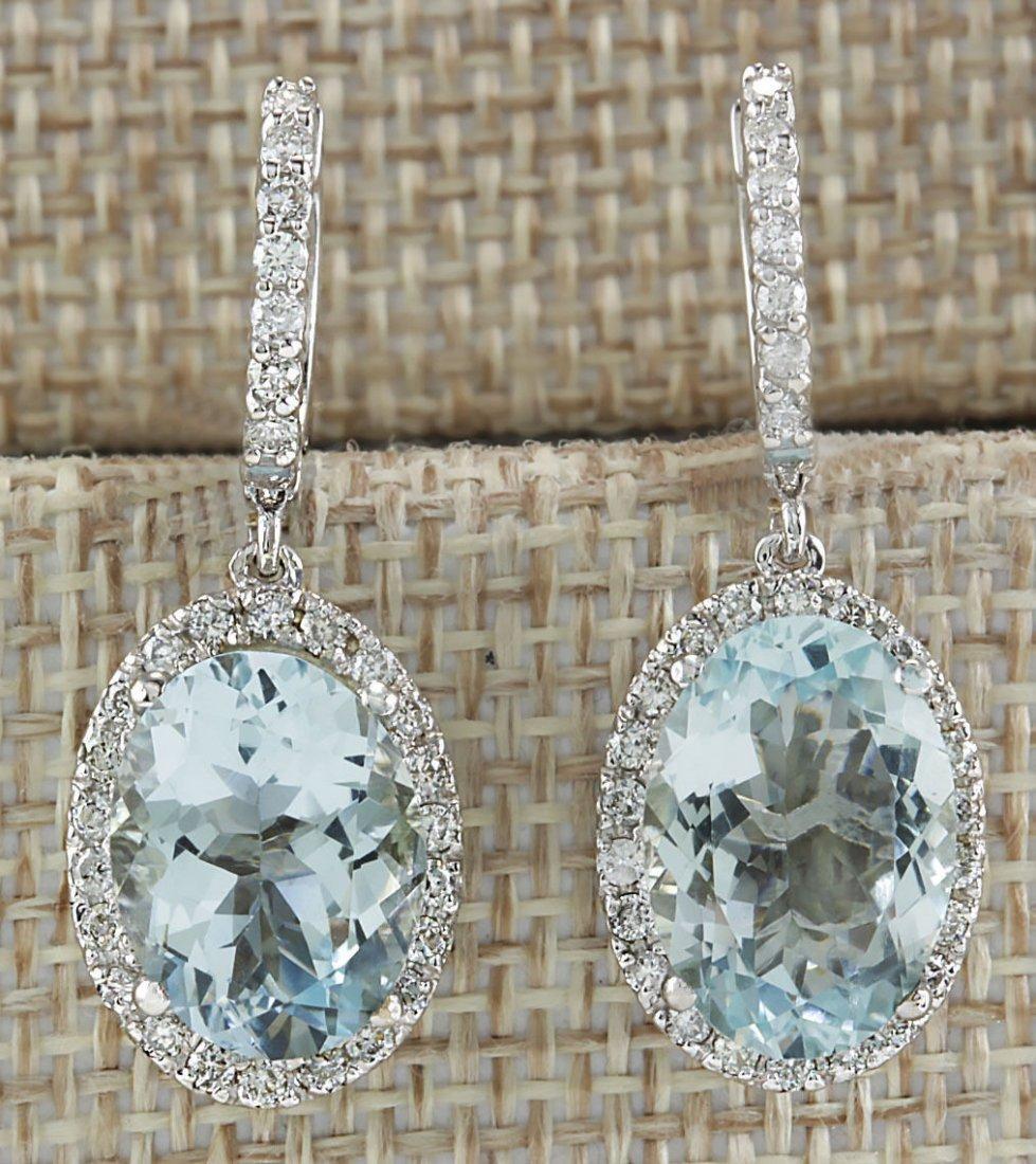 9.96CTW Natural Aquamarine And Diamond Earrings 14K