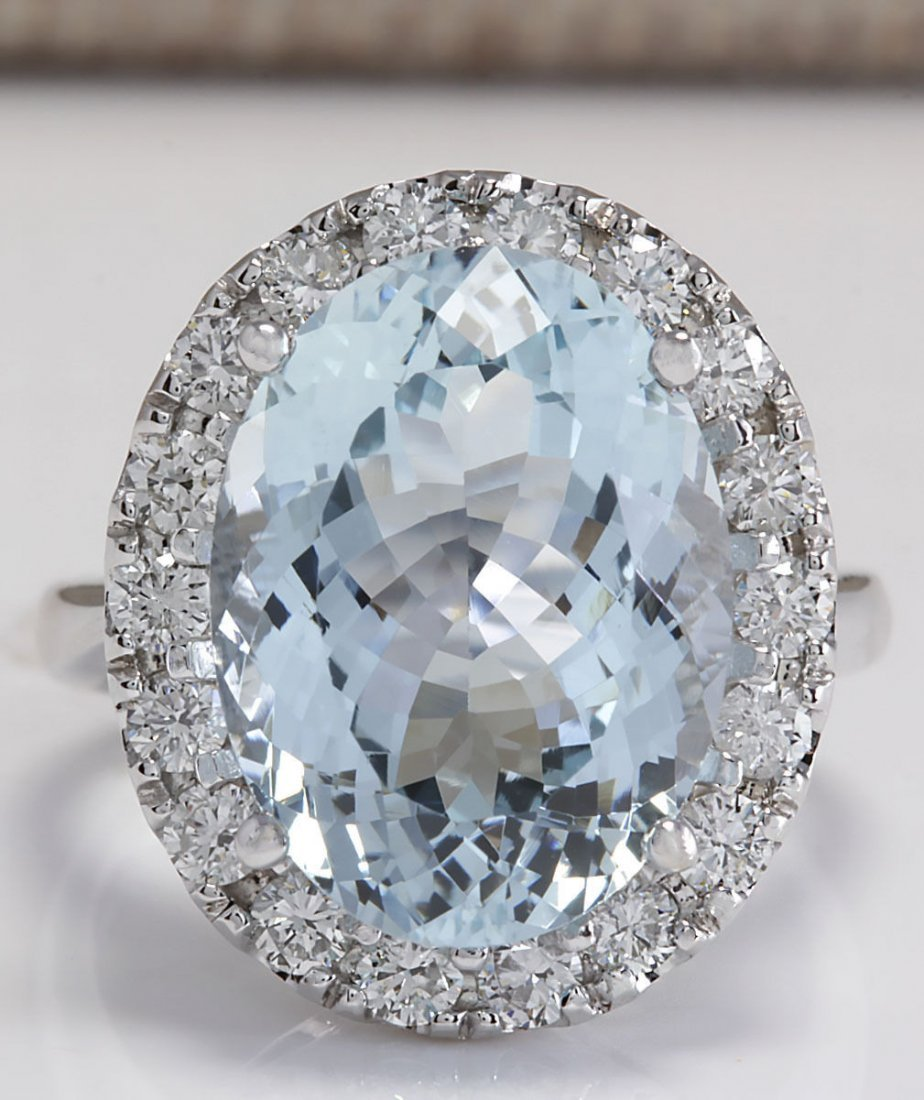 9.84CTW Natural Aquamarine And Diamond Ring In 14K