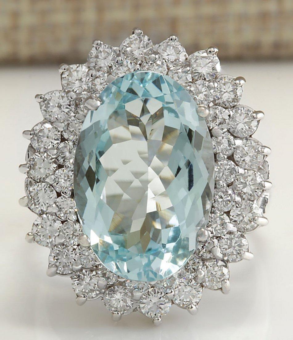9.74CTW Natural Aquamarine And Diamond Ring In 14K