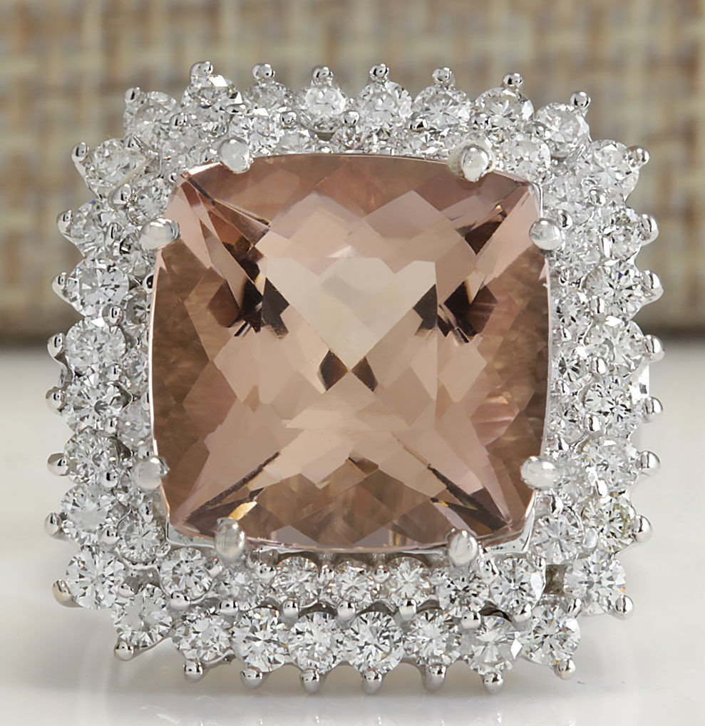9.71CTW Natural Peach Morganite And Diamond Ring In 14K