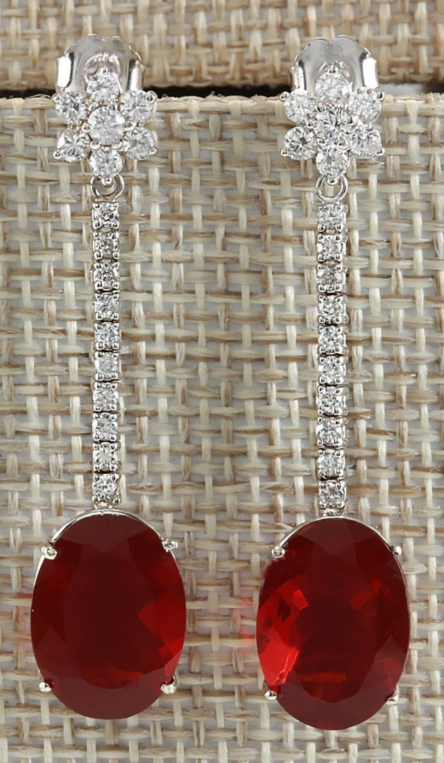 9.71CTW Natural Mexican Fire Opal And Diamond Earrings