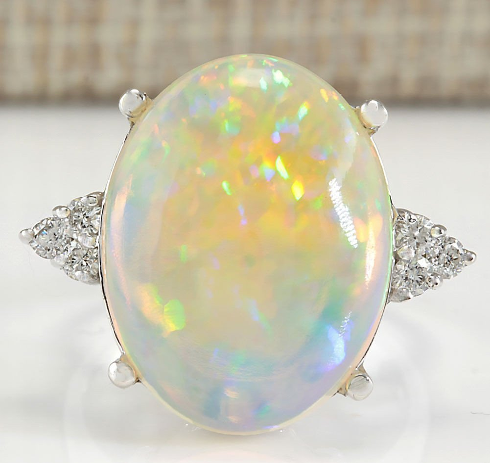 9.37CTW Natural Opal And Diamond Ring In 14K White Gold