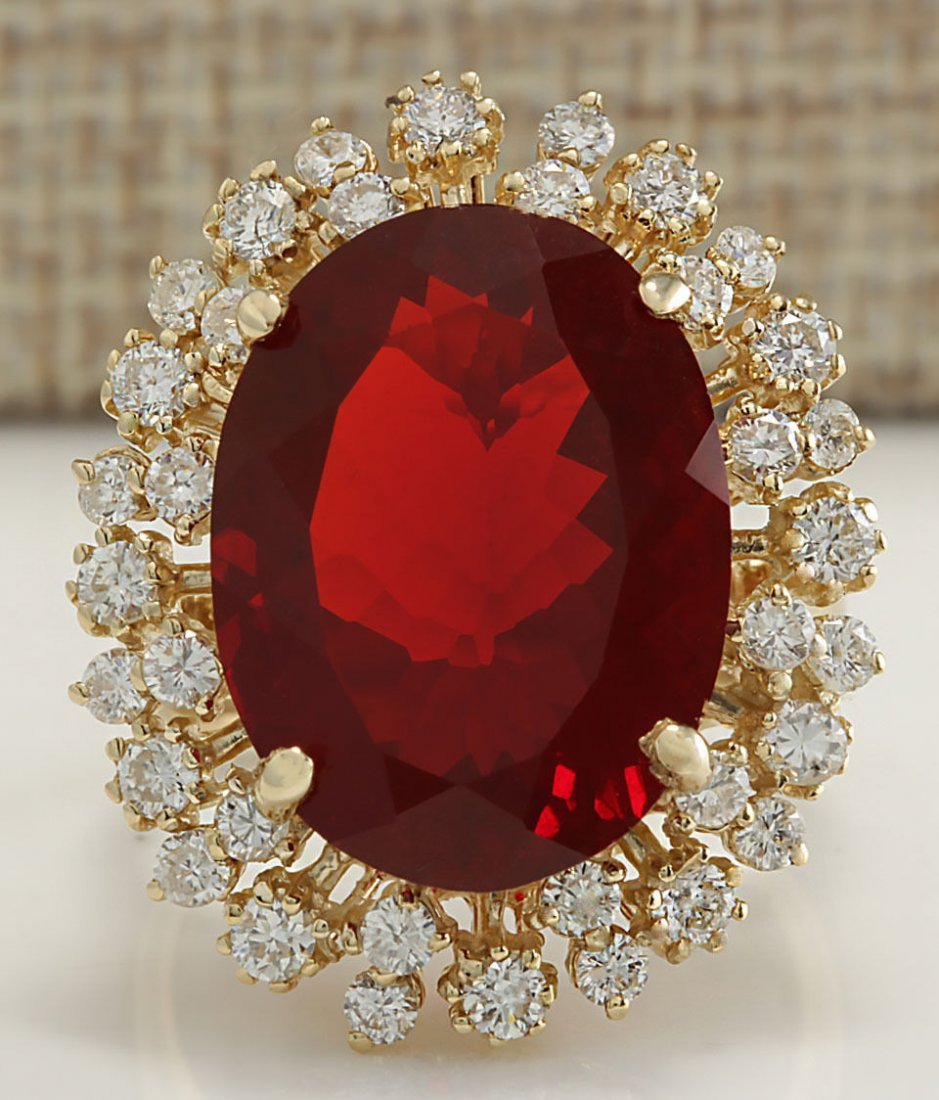 9.35Ct Natural Mexican Fire Opal And Diamond Ring In14K