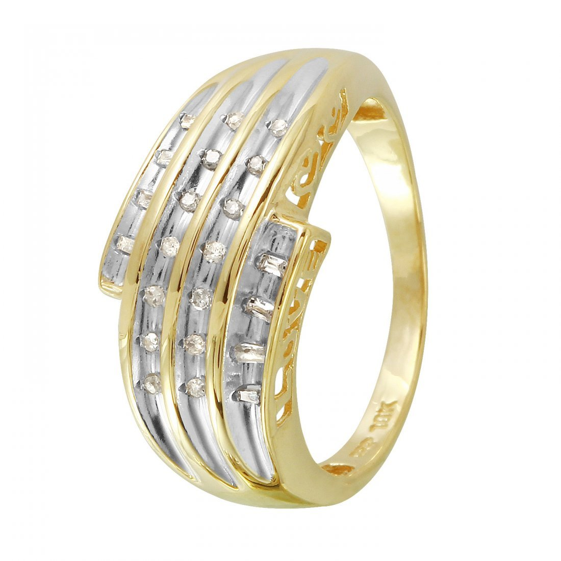 Ladies 0.1CTW Diamond 10k Yellow Gold Ring