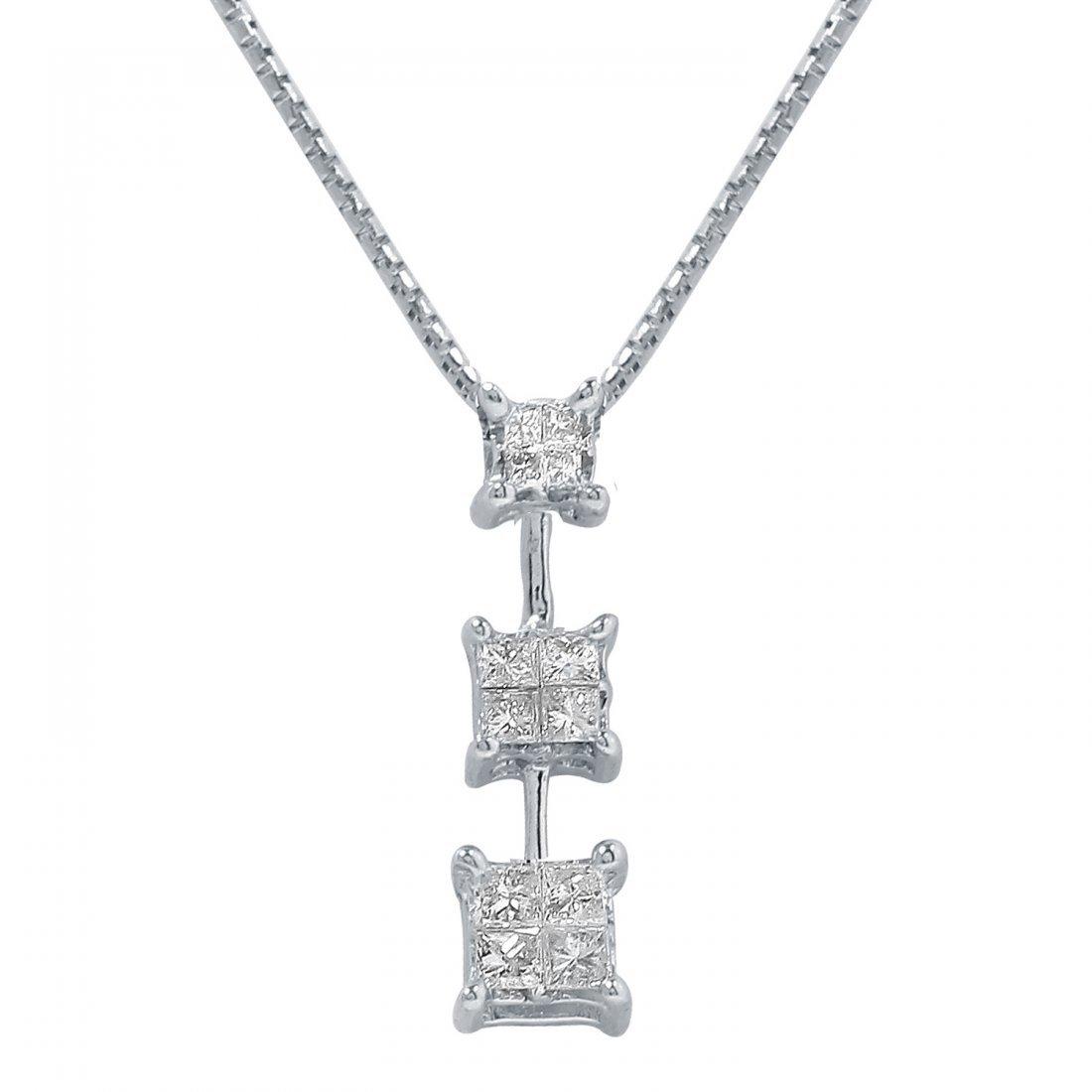 Ladies 0.3CTW Diamond 14K White Gold Necklace