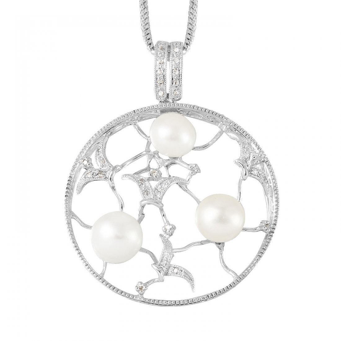 Ladies 0.12CTW Pearl 14K White Gold Necklace