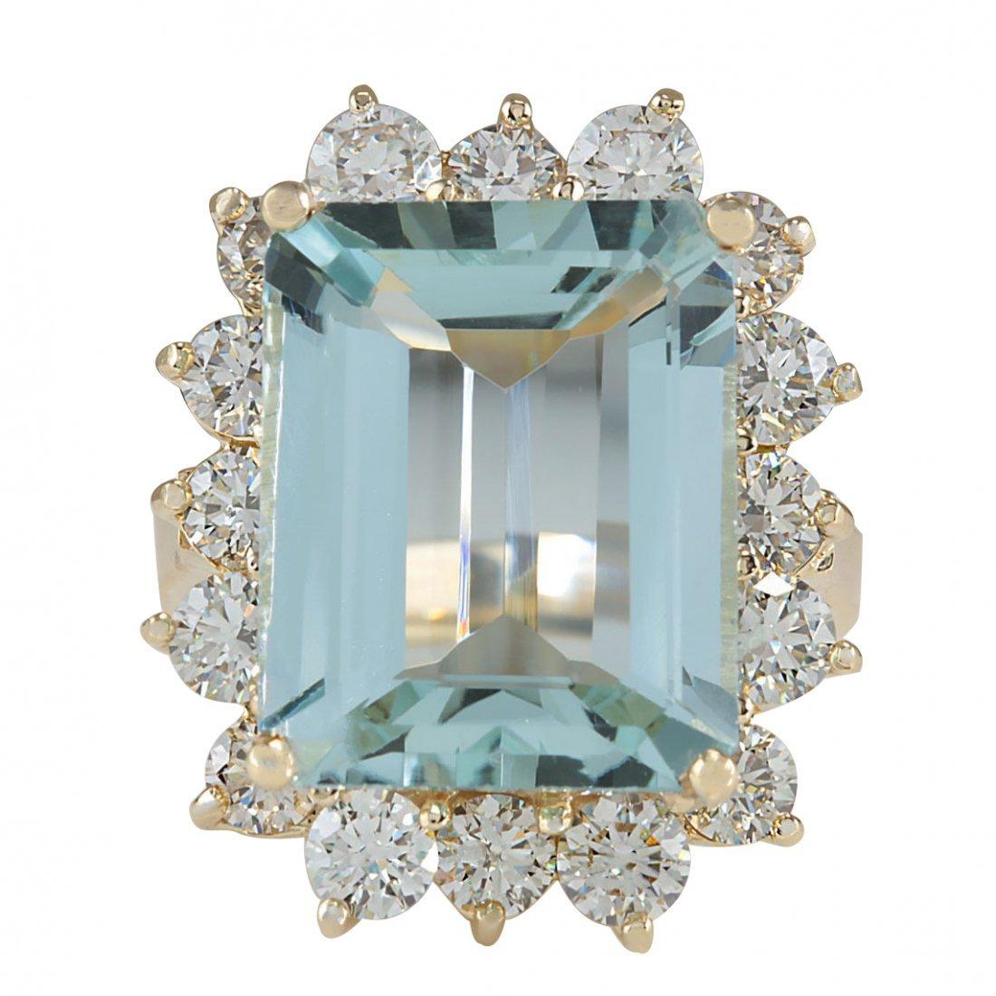 12.57CTW Natural Aquamarine And Diamond Ring In 14K
