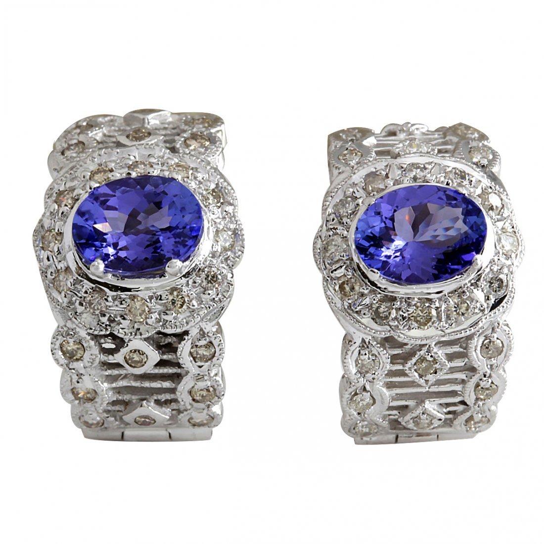 4.20CTW Natural Tanzanite And Diamond Earrings 14K