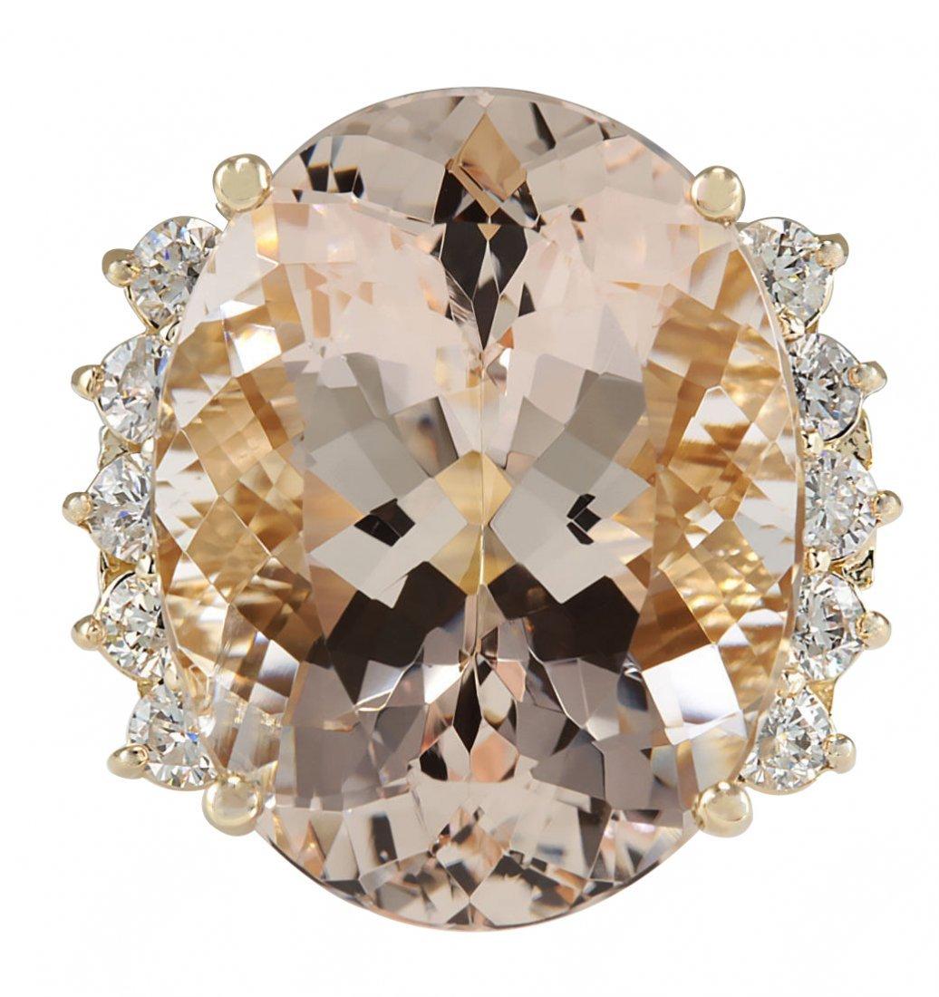 24.99CTW Natural Morganite And Diamond Ring In 14K