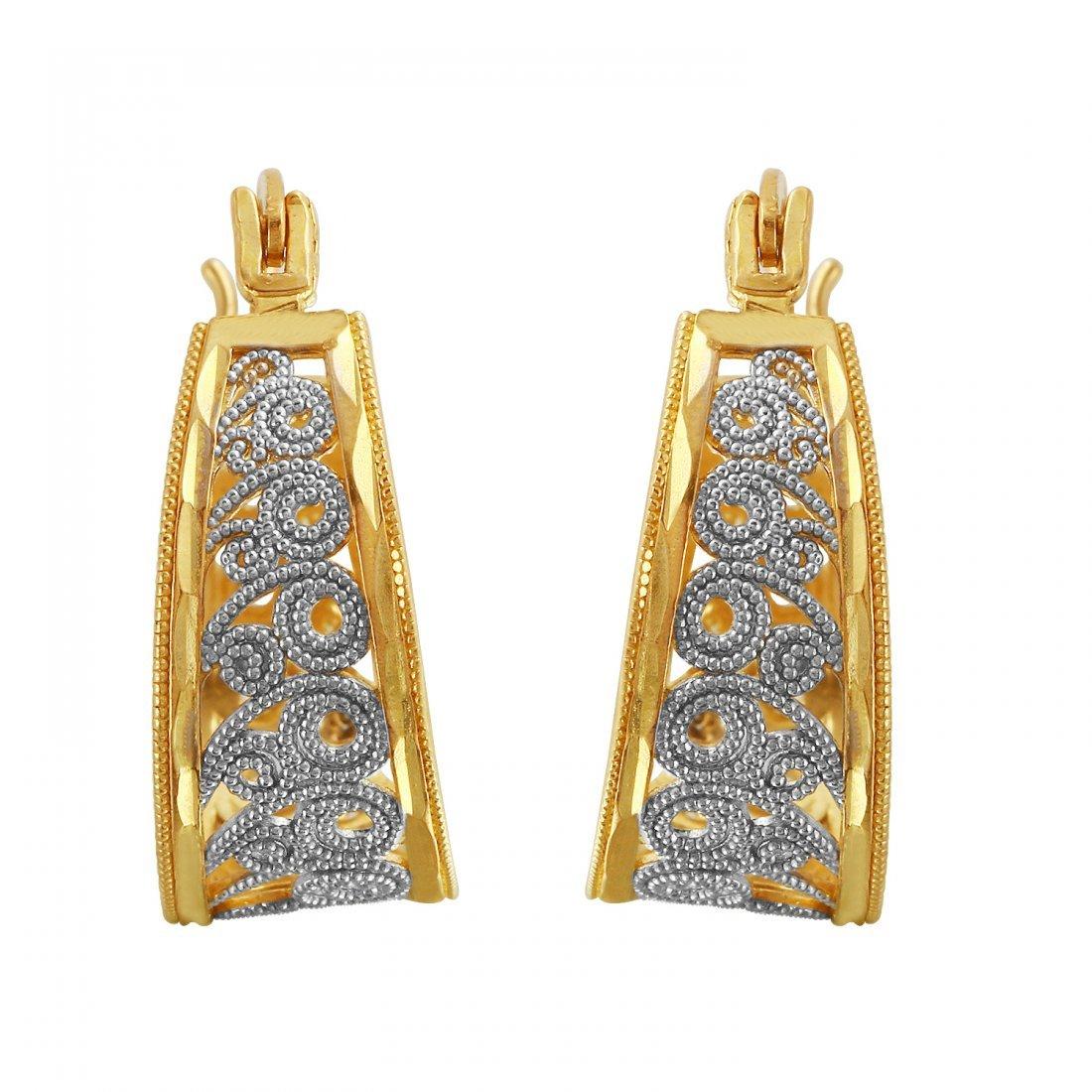Ladies  14K Two tone Gold Earrings
