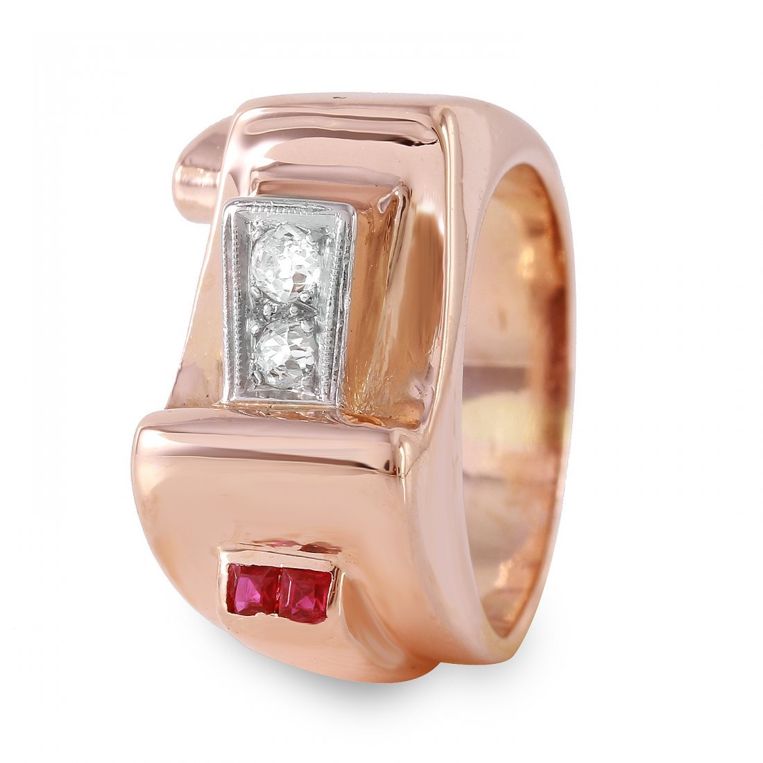 Ladies 0.13CTW Diamond And Ruby 14K Rose Gold Ring