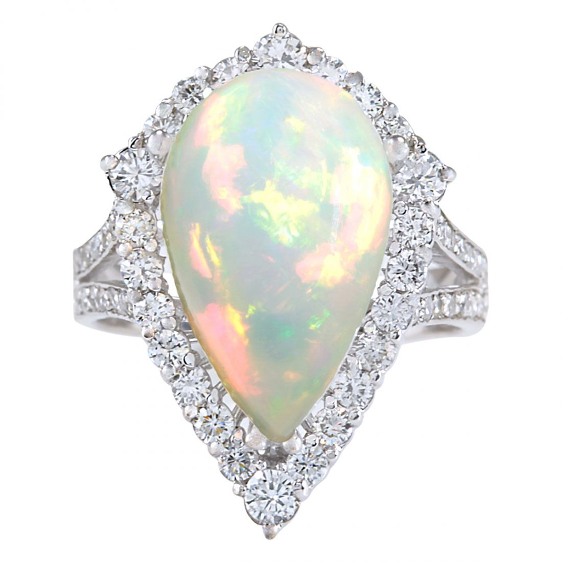 7.13CTW Natural Opal And Diamond Ring In 14K White Gold