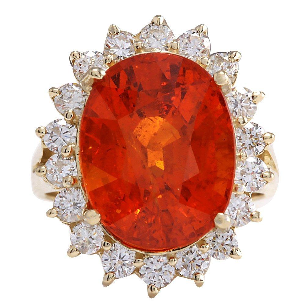 12.41CTW Natural Mandarin Garnet And Diamond Ring 14K