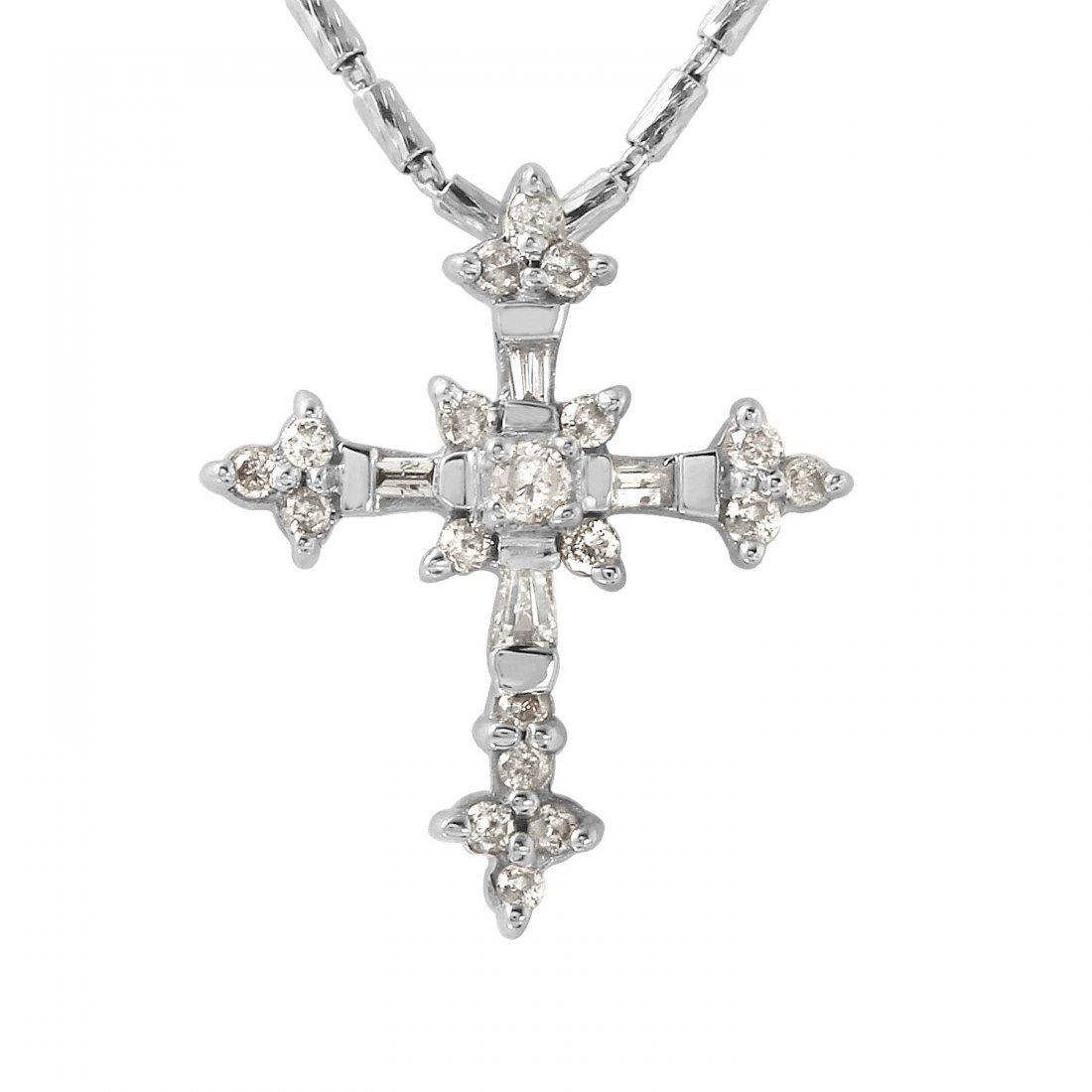 Ladies 0.25CTW Diamond 14K White Gold Necklace