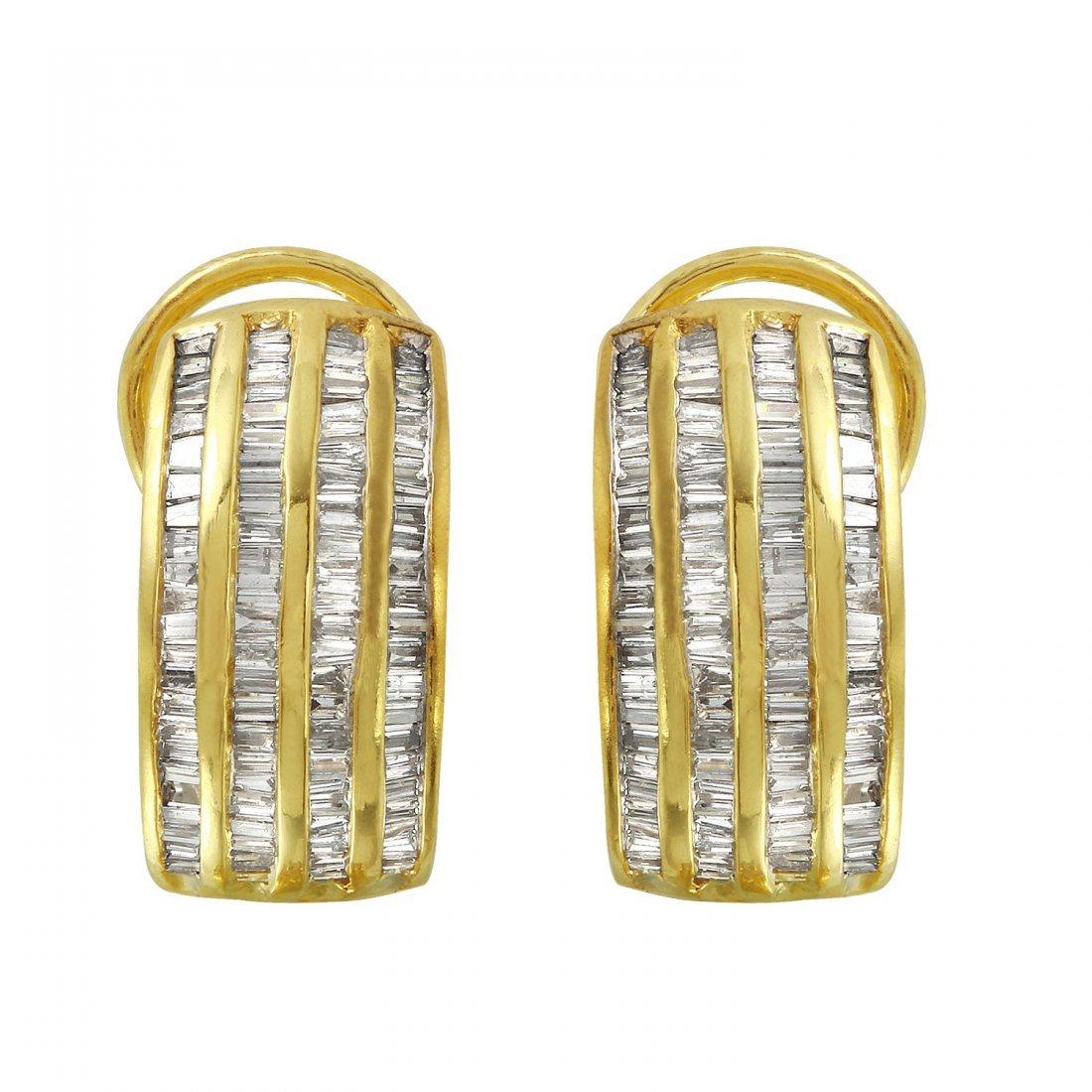 Ladies 1.4CTW Diamond 18k Yellow Gold Earrings